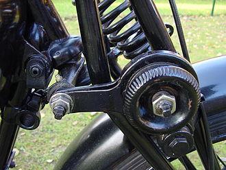 Friction disk shock absorber - 1933 Velocette motorcycle front fork