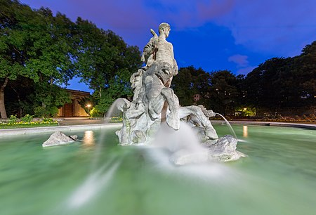 Neptune Fountain, Old Botanic Garden, center of Munich, Germany.