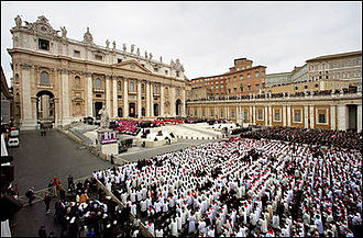 Funeral of Pope John Paul II - The front of St. Peter's Square was filled with cardinals, bishops, priests, and foreign dignitaries