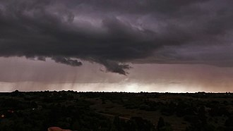 Funnel cloud - A funnel cloud obstructed by scud at Garden of the Gods near Colorado Springs, Colorado