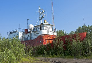 Former research ship stranded on the shore of Mackenzie River near Inuvik, Northwest Territories, Canada