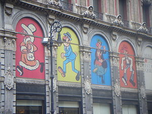 Museo del Estanquillo - Drawings by  Gabriel Vargas in the windows of the museum