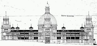 James Barnet - Architectural drawing of the Garden Palace, Sydney, Southern elevation