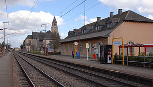 Schifflange - The railway station and bell tower