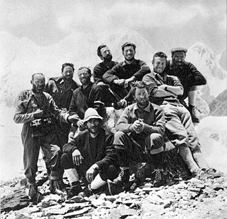 Fosco Maraini - Members of the Italian Gasherbrum IV expedition 1958, Maraini is standing, second from right