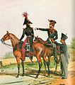 Gendarmerie Kurfürstentum Hessen um 1840 G zu Pferd und zu Fuß.jpg