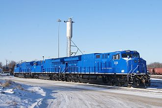 A trio of GE demonstrators for the ET44AC General Electric Locomotive (16060095980).jpg