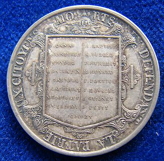 L'Escalade - Geneva Medal 1840 Commemoration of L'Escalade 1602, reverse. It shows the 17 names of Genevois killed directly in the battle.