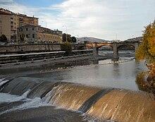 Il tratto del Polcevera aperto tra il 1851 e il 1853, con il ponte S. Francesco