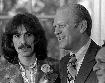 George Harrison, US President Gerald Ford, and Ravi Shankar in the Oval Office in December 1974 George Harrison, Gerald Ford, Ravi Shankar.jpg