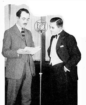 George Olsen - George Olsen (right) interviewed at RCA's radio station WJZ in New York City in 1926