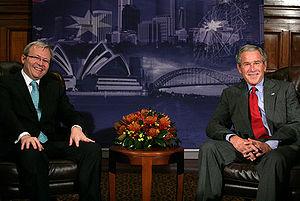 English: President George W. Bush sits with Ke...