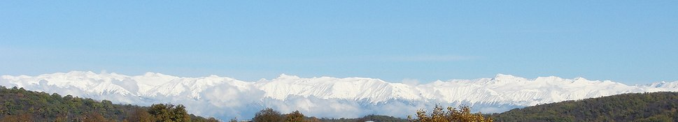 The snow-capped peaks of the Greater Caucasus