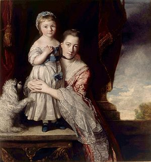 Georgiana Cavendish, Duchess of Devonshire - A young Miss Georgiana Spencer with her mother, Margaret Georgiana Spencer. Painting by Sir Joshua Reynolds