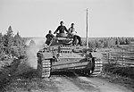 German tanks of Panzerabteilung 40 advancing towards the frontline at Vasonvaara.jpg