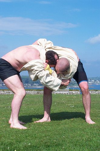 Cornish wrestling - Gerry and Ashley Cawley wrestling at Pendennis Castle, 6 May 2002
