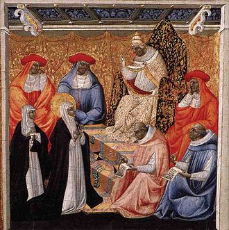 Pierre de Murat de Cros - De Cros was the cousin of Pope Gregory XI (shown here blessing St. Catherine of Siena, who repeatedly importuned him to move the seat of the papacy back to Rome), and was the brother of cardinal-nephew Jean de Murat de Cros. Both are possibly depicted here.