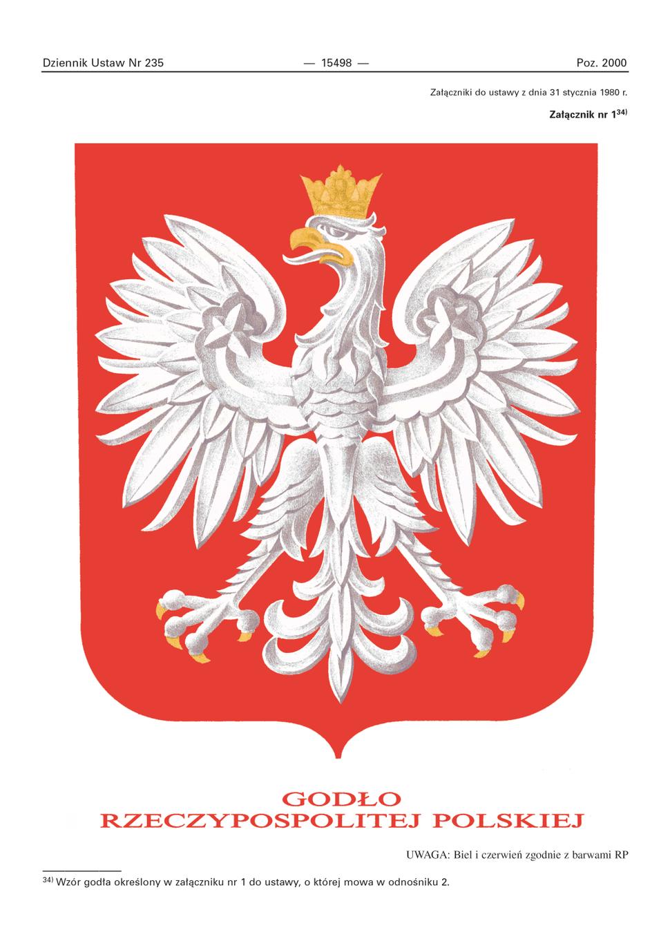 Godło Rzeczypospolitej Polskiej - wzór ustawowy