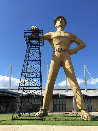 The iconic Golden Driller, built in 1953 for the 1966 International Petroleum Exposition, now stands at the Tulsa County Fairgrounds. Golden Driller.jpg