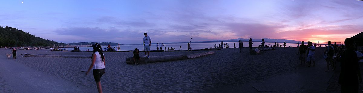 Golden Gardens Park at sunset.