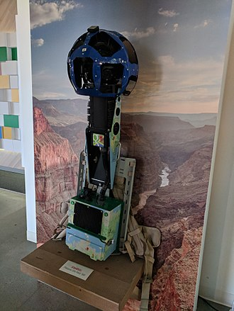 Google Street View - A backpack camera on display at the Google campus in Mountain View, California in February 2018