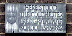 Photo of Colchester Free Grammar School black plaque