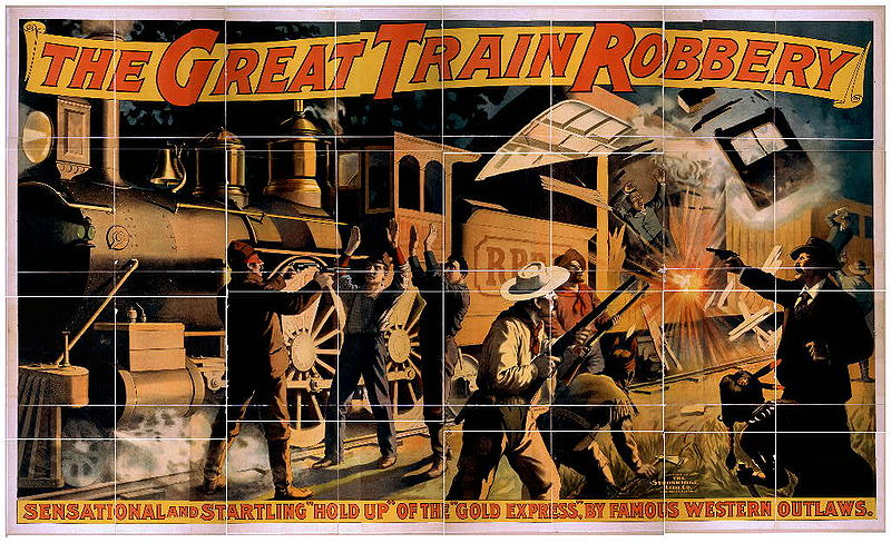 Wild West movie poster for the first film in history: The Great Train Robbery (The Great Train Robbery) from 1903.