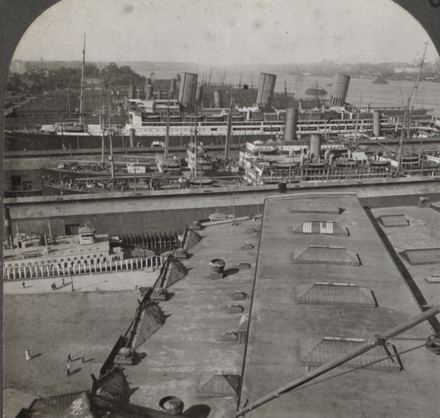 Great Ocean Liners at the Docks in 1915, just prior to the U.S. entry into World War I Great Ocean Liners at the Docks, Hoboken, N.J, from Robert N. Dennis collection of stereoscopic views (cropped).png
