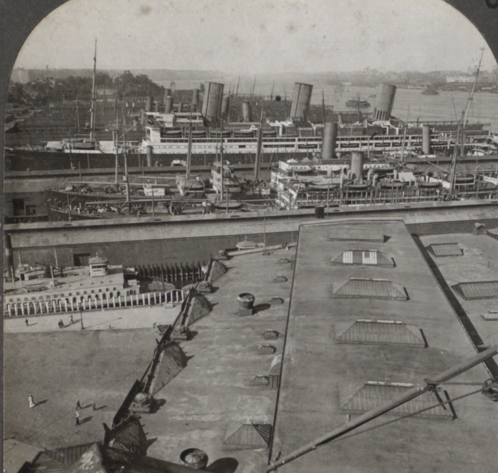 Great Ocean Liners at the Docks, Hoboken, N.J, from Robert N. Dennis collection of stereoscopic views (cropped)