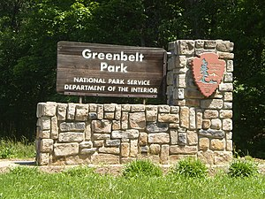 Greenbelt Park - Sign at the main entrance into the park.