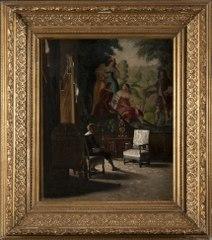 Gripsholm, interiör från Kungens sängkammare med manlig staffagefigur