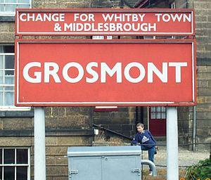 Grosmont railway station - Up platform running in board at Grosmont