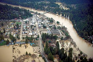Guerneville, California - Aerial view of Guerneville during flooding on the Russian River.