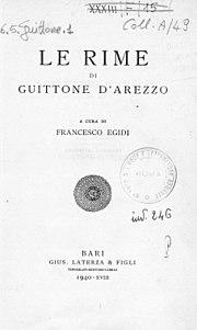 Guittone - Rime, 1940 - 1851078 0001
