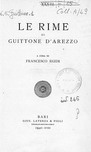Guittone d'Arezzo - Rime