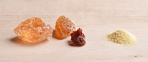 Gum arabic - Acacia gum, pieces and powder