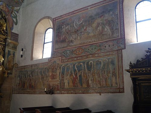 Gurk Dom Maria Himmelfahrt Innen Gotische Fresken 2.JPG