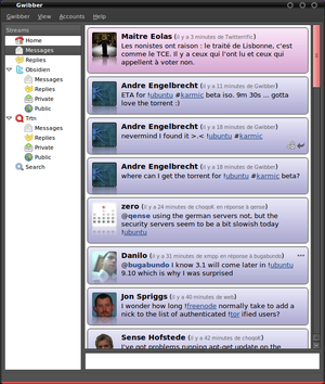 Screenshot of Gwibber 2.0. See egally Gwibber 1.0.