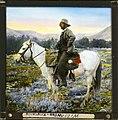 Håndkolorert lysbilde. Portrett av fotografen Anders Beer Wilse til hest i en dal. (9471831102).jpg