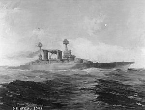 Painting of a dark ship with two funnels and two cage masts steaming through heavy seas