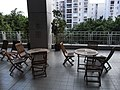 HK Kln Tong InnoCentre Garden terrace wooden furniture view Village Gardens Sept-2012.JPG