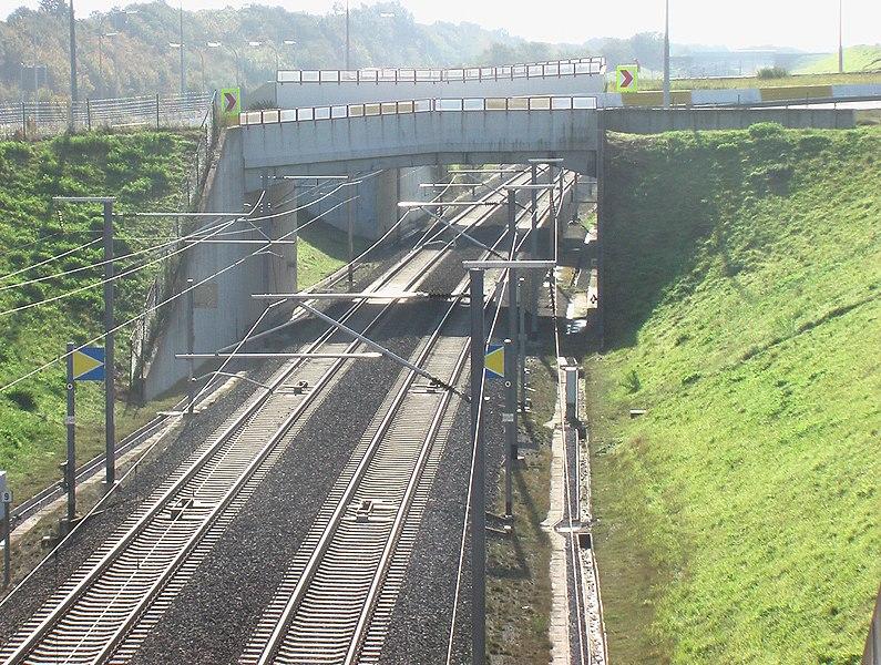 HSL 2 high speed train line near Hoegaarden, Belgium