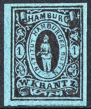 Local post - Private local postage stamp of Hamburg, issued 1863.