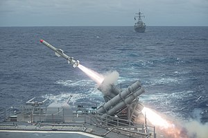 Harpoon missile launch aboard USS Shiloh