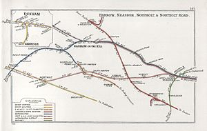 South Ruislip station - A 1914 Railway Clearing House map of railways in the vicinity of South Ruislip (shown here as Northolt Junction)