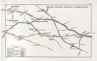 Acton–Northolt line - A 1914 Railway Clearing House map of railways in the vicinity of Greenford.