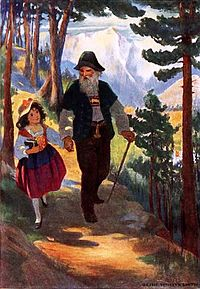 Drawn with intense colours, a girl goes down the mountain among coniferous trees, holding her grandfather's hand.