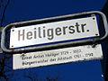 Heiligerstraße Hannover Straßenschild mit Legende Ernst Anton Heiliger 1729-1803 Bürgermeister der Altstadt 1761-1798.jpg