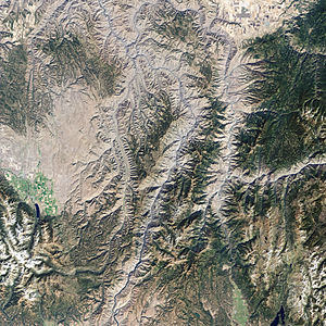 Hells Canyon National Recreation Area - The natural-color image of Hells Canyon was captured by NASA's Landsat-7 satellite on September 19, 2002.