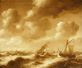 Hendrick van Anthonissen - Shipping in a Gale, monochrome painting from ca. 1656, now in the National Maritime Museum.